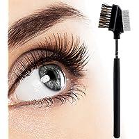 Cepillo para cejas y peine de pestañas, herramienta de belleza para cosméticos de 2 hilos, para profesionales y viajes