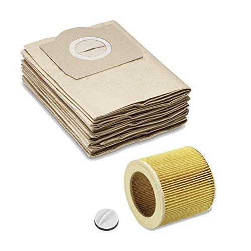 Papierfiltertüten Filterbeutel wie 6.959-130.0 + Patronenfilter Papier wie 6.414-552.0 inkl. Verschluss 4.075-012.0 passend für alle Kärcher Nass/Trockensauger WD2 WD3 MV2 MV3 A2054 A2201 von ONE!