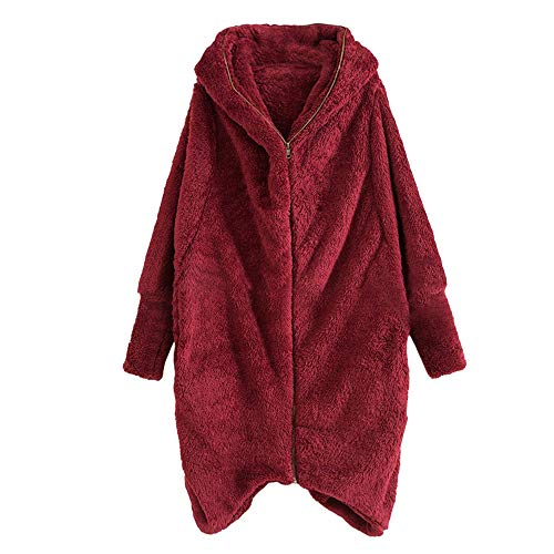 MYMYG Damen Mantel Fleecemantel mit Kapuze Strickjacke Winter Plüschjacke Warm Winterjacke Steppjacke Outwear Cardigan Langarm Teddy-Fleece Parka Kapuzenjacke Trench Coat (A3-Wein,EU:38/CN-L)