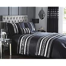 Negro moderno de colcha edredón de matrimonio y 2 camas de almohada juego de cama