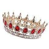 MagiDeal Barocco Oro Rubino Oro Corona Diadema Cerimonia Nuziale Headpiece Costumi Da Sposa immagine