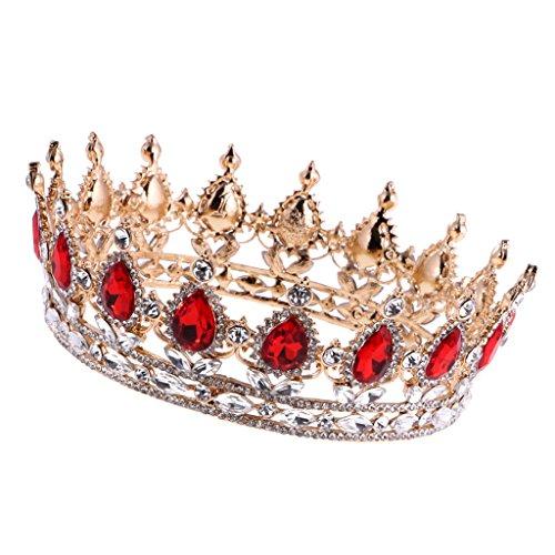 MagiDeal Barocco Oro Rubino Oro Corona Diadema Cerimonia Nuziale Headpiece Costumi da Sposa