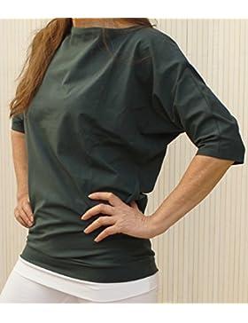Esparto Sadaa Camiseta de manga media, de algodón orgánico, color Thymian (Dunkelgruen), tamaño small