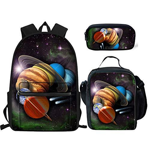 HUGS IDEA Kinder Rucksack Set Kinder Schulranzen Lunchtaschen mit Federmäppchen 3-in-1 Planet 2 Einheitsgröße -