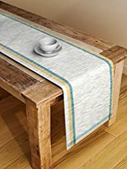 NEUDIS by Dhrohar Hand Woven Cotton Table Runner for 4 Seater - Yellow Green - Size: (114X33 Cms)