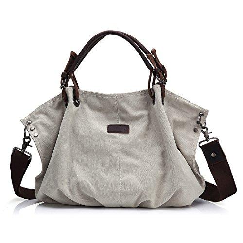 Damen Segeltuch Schultertasche, Canvas Tasche, Top Handtasche aus echtem Leder, Vintage Umhängetasche, Crossbody Einkaufstasche mit abnehmbarem Tragegurt, übergroßer Geldbeutel mit Reißverschluss, für Laptop geeignet (Handtasche Übergroße)