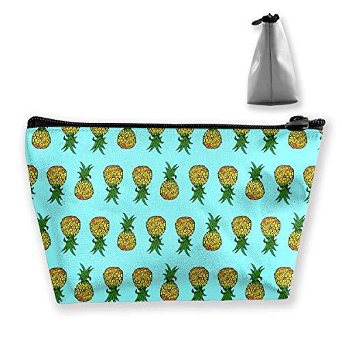 e Tragbare Reise Kosmetische Cartoon Ananas Mode Reißverschluss Trapez Geldbörse für Geschäftsreisen ()