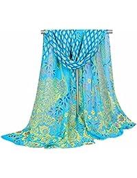 Scarf - TOOGOO(R)Women Peacock Chiffon Scarf Long Soft Shawl Silk Wrap Neck Warm Stole blue
