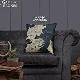 Game of Thrones Cushion (Official Merchandise) | Westeros Map House Lannister House Stark 38 x 38 cm Printed Plush Pillow With Pad Included | New Season Gift Idea For Fans (Westeros map - dark blue)