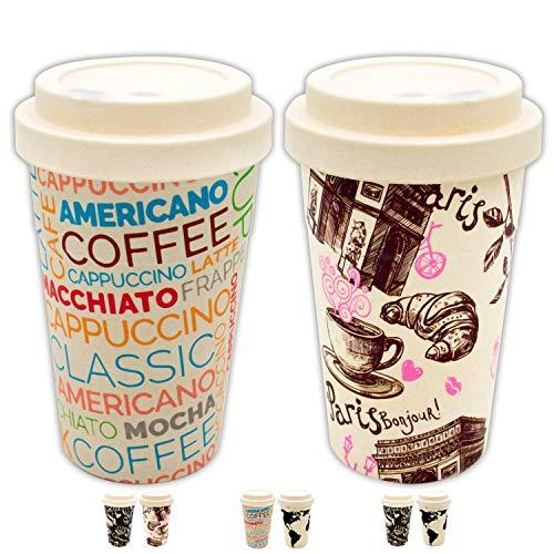Valere + Coffee to go Bambus-Becher Set 1+1 SPARAKTION   Mehrweg  lebensmittelecht   spülmaschinenfest   Verschluss