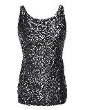 PrettyGuide,Damen Shimmer Glam Pailletten verziertes Sparkle Traegershirt, Gr. XL (Herstellergroesse XXL),Schwarz
