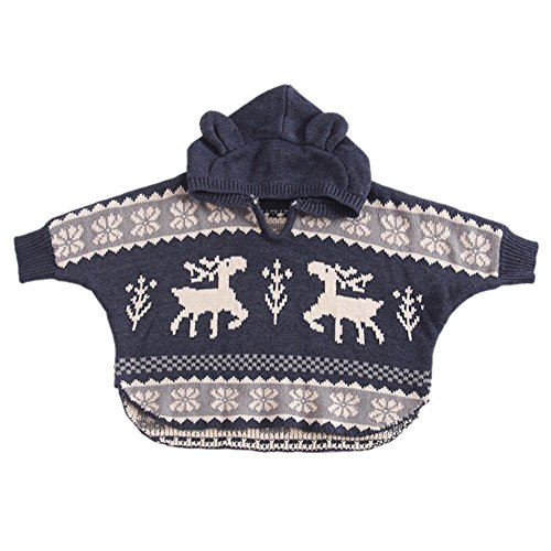 Allouli Christmas Baby Sweatshirt Cloak Outwear Hooded Xmas Kids Deer Matching Outfits (Pyjamas Womens Knit)