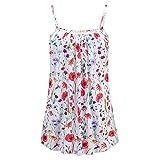 KIMODO Damen Lose ärmellose Tank Top Blumen Drucken Camisole Weste Plus Size T-Shirt Bluse Sommer Oberteile Große Größen