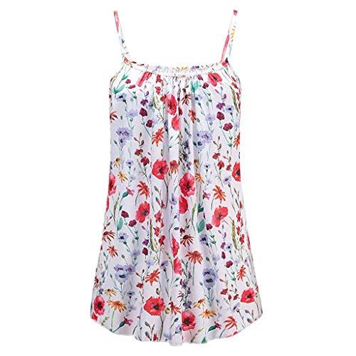 KIMODO Damen Lose ärmellose Tank Top Blumen Drucken Camisole Weste Plus Size T-Shirt Bluse Sommer Oberteile Große Größen (Mit Plus Kapuze Jeans-jacke Size)
