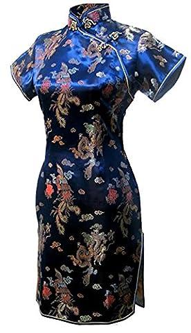 7Fairy Femmes Bleu Marin Chic Chinois Bal De Promo Robe