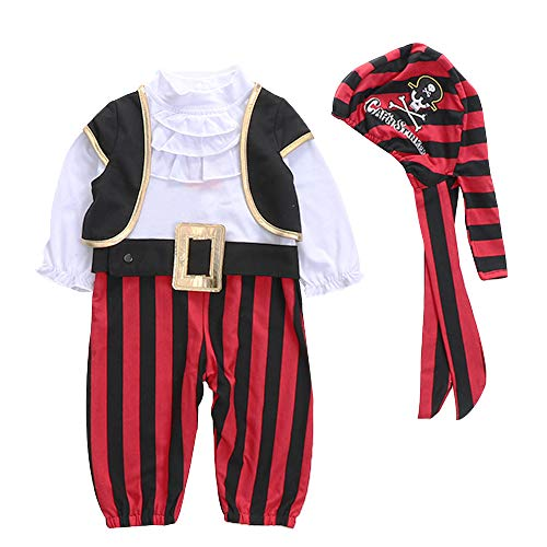 Lee Little Angel Halloween Piraten Performance Kostüm Baby Herbst Langärmeliger Jumpsuit 4 Stück Set (80, Rot)