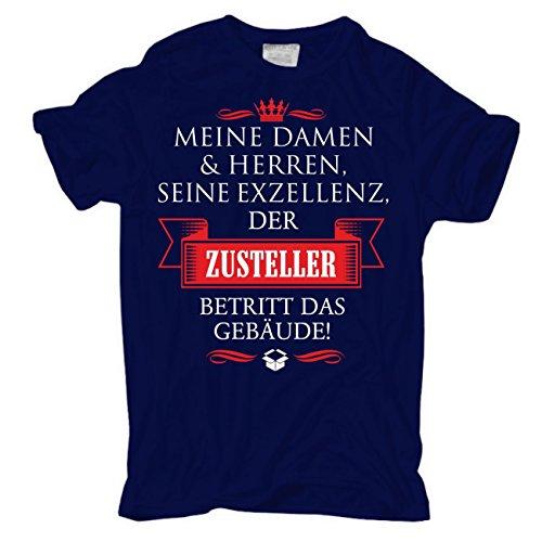 Männer und Herren T-Shirt Seine Exzellenz DER ZUSTELLER körperbetont dunkelblau