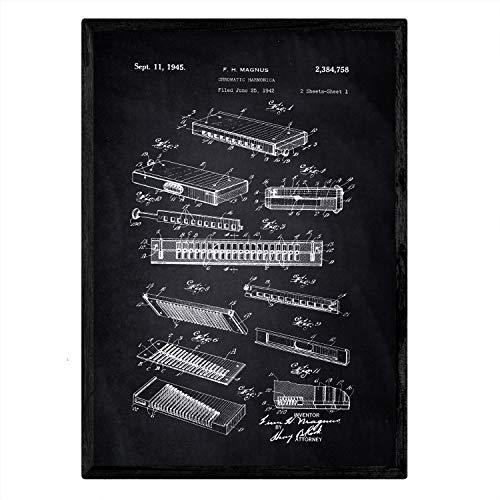 Nacnic Poster Patent Harmonika. Blatt mit altem Design-Patent A3-Format mit schwarzem Hintergrund