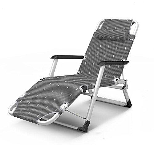 DALL Chaises longues XQ-ZD Minimaliste Moderne Tissu + Ferroalliage Avec Accoudoirs Et Oreillers Gris Fauteuil Inclinable Portable Pliable