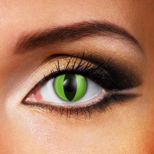 Paio di lenti a contatto colorate Cobra Eye OCCHI DI COBRA lenti a contatto unisex Verdi con rigi verticale nero finte senza diottrie in soluzione salina wildcat durata 3 mesi lenti a contatto per carnevale e halloween o scherzo lenti a contatto decorative