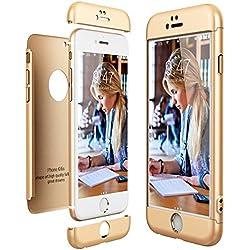 CE-LINK Housse Etui en PC Matière pour iPhone 6, 360 Degrés Complète Protecteur Anti-égratignures Solide PC Plastique - Or