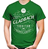 Mein Leben Gladbach Männer und Herren T-Shirt | Fussball Ultras Geschenk | M1 Front (L, Grün)