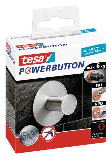 Tesa Powerbutton Haken (Classic rund) silber-matt