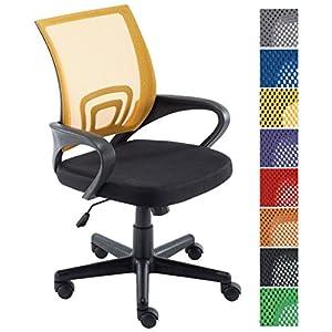 51FaF3fG9kL. SS300  - CLP-Silla-de-escritorio-GENIUS-Silla-giratoria-con-altura-regulable-Asiento-acolchado-y-con-tapizado-con-tela-en-red-transpirable-Disponible-en-diferentes-colores-amarillo