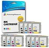 Printing Pleasure 12 XL Druckerpatronen für HP Officejet Pro 8000 Wireless, 8000W, 8500, 8500A, 8500W, A809, A909a, A909g, A909n, A910a | Ersatz für HP 940XL mit Chip