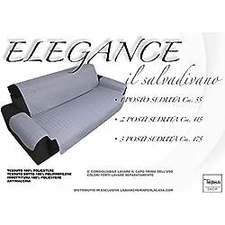 tex family COPRIDIVANO GR SALVADIVANO Elegance Grigio ANTIMACCHIA Trapuntato Piano Liscio - 3 posti Seduta cm. 175