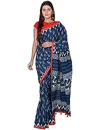 80723e855f PANVI Women's Hand Block Printed Indigo Blue Cotton Saree with Blouse  Piece, Free Size (