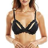 FRDMBeauty Sexy Spitze Bralette Dreieck Sheer Bikini Floral Top Durchsichtig Keine Polsterung Mesh Unterwäsche Dessous Pflege Brust Fütterung BH für Frauen A-D Tassen (Black, M)