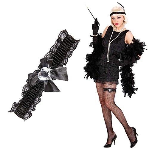 Braut Schwarz Gothic Kostüm - NET TOYS Herz Strumpfband Burlesque Strapsband schwarz Charleston Tänzerin Rüschenstrumpfband Can Can Reizwäsche Gothic Braut Spitze Dessous Kostüm Accessoire