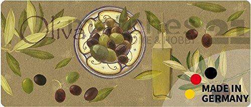 matches21 Küchenläufer Teppichläufer Teppich Läufer Oliven 50x80x0,4 cm Rutschfest maschinenwaschbar Küchenvorleger