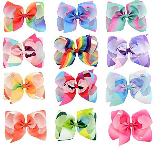 aby Mädchen 6 Zoll Regenbogen Haar Bogen Clips Grosgrainband Bowknot-Clips Haarnadel Barrettes Für Mädchen Teens Kleinkind Geschenke Set (Kleine Mädchen-mode-boutique)