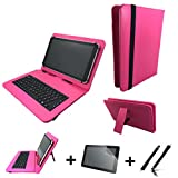 3in1 Starter set für Archos Diamond Tab (2017) Deutsche Tastatur Hülle | Schutz Folie| Touch Pen | 10.1 Zoll Pink Keyboard 3in1