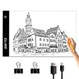 GLIME Tablette Lumineuse A4 Ultra-mince & Ultra-léger Lumineuse Dessin LED Stepless Dimming (0~4500lux) Planche à Dessin avec Cable USB pour Arts Dessiner Croquis Esquisse Diamond Painting