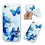 Edauto Hülle für iPhone 7 / iPhone 8 Silikon Case Ultra Dünn Handyhülle Schutzhülle Transparent Durchsichtige Handyschale Handytasche Tasche TPU Schale Soft Etui Cover Weiße Blume Schmetterlinges