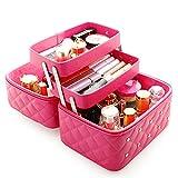 FYX Kosmetikkoffer Makeup Box Kosmetiktasche Schminkkoffer für Reisen Dienstreise weich 25*19*21cm Schwarz Rosa Pink (Rosa)