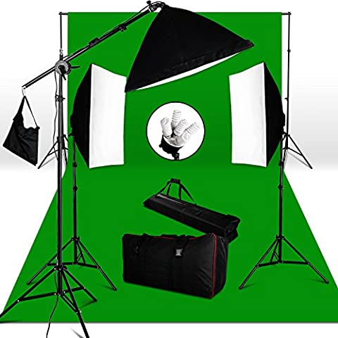 Pro Stuido lighting kit- 2850W 5-lamp-head Softbox Continuous Lighting Kit + 3M*6M Cotton Muslin Green Chroma key Backdrop+3*2.8M Background Support Stand