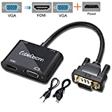 Cabledeconn VGA Male To VGA HDMI Female 2In1 Adapter Converter For Desktop Laptop VGA Graphics Card With Micro USB Power Cable And Audio 3.5 mm (Black)