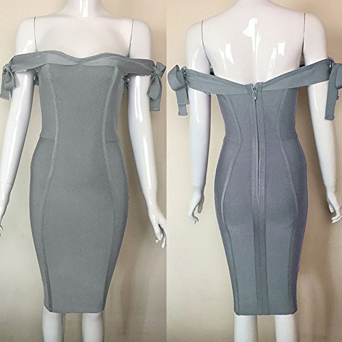HLBandage Off Shoulder Bowknot Bind Strap Rayon Bandage Dress Hellgrau