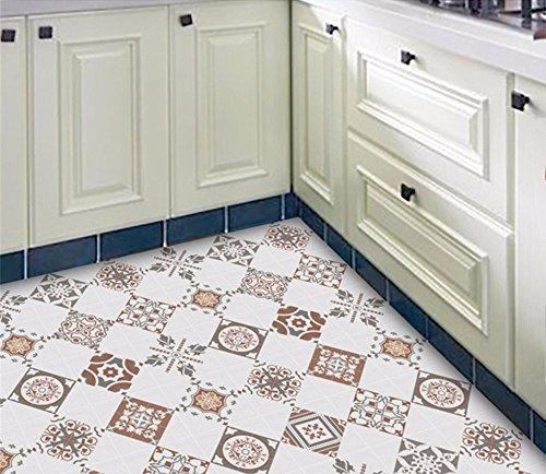 wangjian& Pavimento cucina Impermeabile antiscivolo Indossabile Decorazione  Adesivi per piastrelle vintage Piastrelle per balconi autoadesivi Adesivi  ...