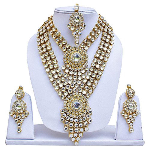 Lucky Jewellery Traditional White Color Gold Plated Kundan Wedding Bridal Necklace Set...