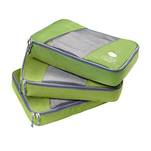 EEZEE Leichte Verpackungsorganisatoren mit Wäschebeutel Set von 3 Groß für Reisen Camping Urlaub (Grün, Große 3 in 1)