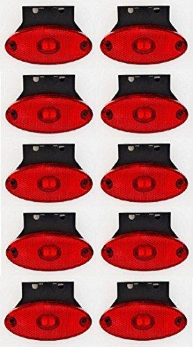 10x 24V 2LED lato posteriore contorno rosso luci laterali, ovale con gomma staffe ribaltabile camion caravan rimorchio Chassis