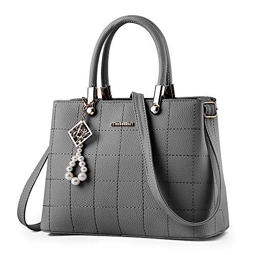 handtaschen damen Schwarz groß Leder Damen Schultertasche Frauen Umhängetasche (Grau) (Leder Handtaschen Grau)