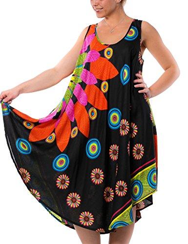 Gadzo Strandkleider Damen Sommer Sommerkleid Strandkleider bunt Tunika Trägerkleid Strandkleid schwarz M0301