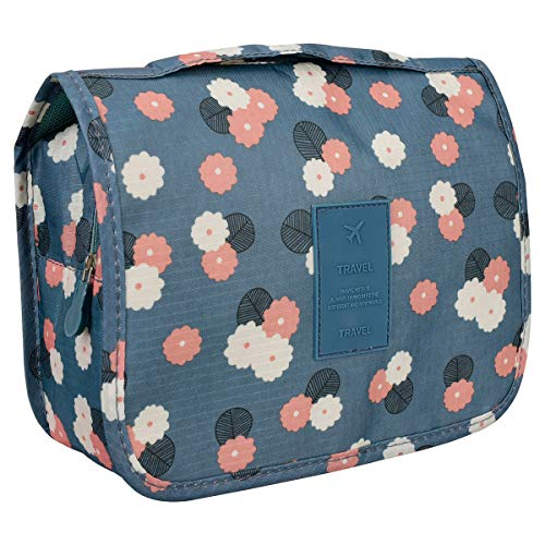 X-Mile Daisy Mint Multifonctionnel Portable Accroché de Trousse de Toilette Pliable Trousse à Maquillage de Trousse de Voyage Homme Femme Fleurs Bleu-Vert