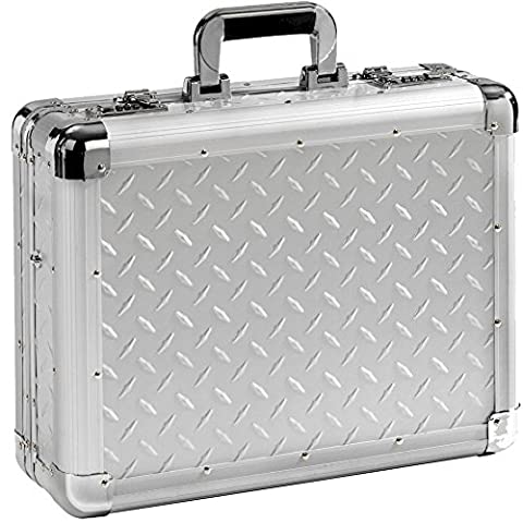 XL Aktenkoffer Notebookkoffer Aluminium silber Aluminiumkoffer Alukoffer Aluaktenkoffer Aluattache Attachekoffer 17